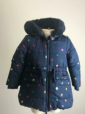 Girls M&S Navy & Colour Dots Warm Winter Hooded Coat Jacket Kids Age 2-3 Yrs