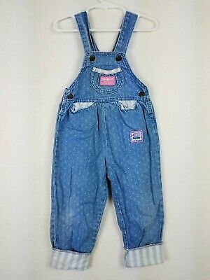 VTG Oshkosh Girls Size 3T Vestbak Overalls Cuffed Bunny Denim Pink Tag USA Made