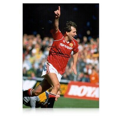 Bryan Robson Signed Manchester United Photo: Goal Celebration | Autographed