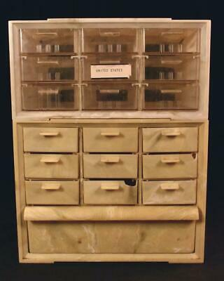 Vintage Akro-Mils Stacking Parts Cabinet 19 Drawers Storage Plastic Akron Ohio