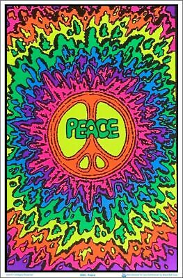 PEACE  - Flocked Blacklight -  Poster 23 in X 35 in - POSTER