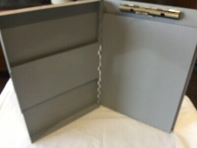 Saunders Gray Aluminum Metal Portable Clipboard Box 9x12 Snapak contractor notes