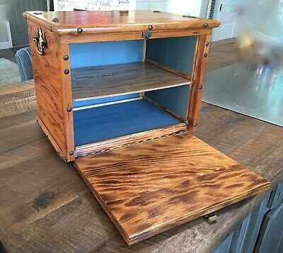 Vintage Handmade Wood Box Desk Accessory, Wooden Storage Cabinet Box