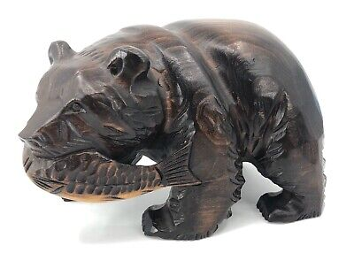 Japanese Ainu Bear S. Takahashi Wooden Statue Fish Salmon Wood Carving w/ Label