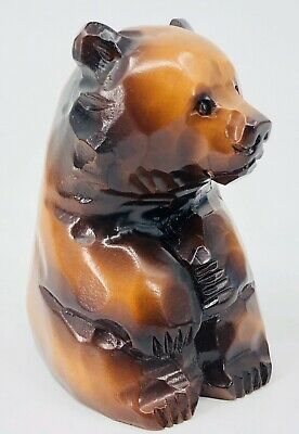 Japanese Ainu Bear S. Takahashi Wooden Statue Wood Carving with Label Vintage