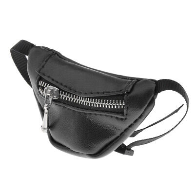 PU Leather Zipper Waist Bag Fanny Pack for 1:3 BJD Doll Accessory Dress Up Black