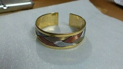 Mixture of Three Metal as Brass, Copper ,German Silver Energy Giver Cuff Kada...