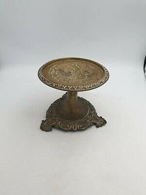 Vintage Solid Brass Tazza Footed Fruit Bowl Pedestal Dish Ornate  Floral Ringed