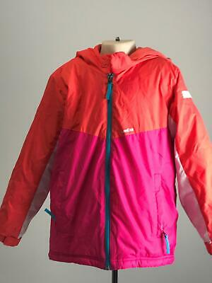 Girls Decathlon Pink Coral White Warm Hooded Rain Coat Jacket Kids Age 6 Years