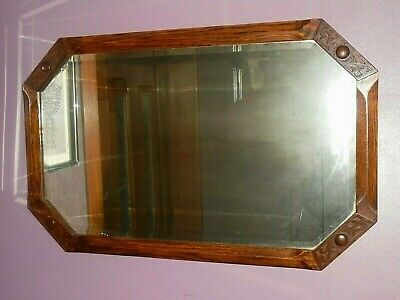 Arts And Crafts Glasgow School Oak Mirror Hand Carved Bevelled Glass Large