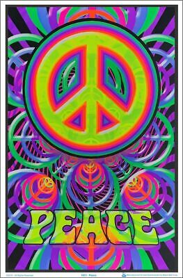 PEACE SIGN - FLOCKED BLACKLIGHT -  Poster 23 in X 35 in - POSTER