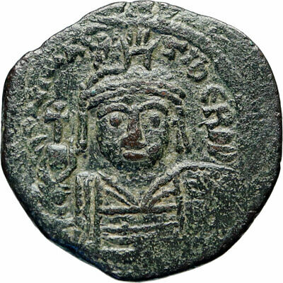 MAURICE TIBERIUS Authentic Ancient Constantinople Follis BYZANTINE Coin i83020