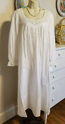 NWT M Medium Eileen West Gown 100% Lawn Woven Cotton NEW NightGown Long