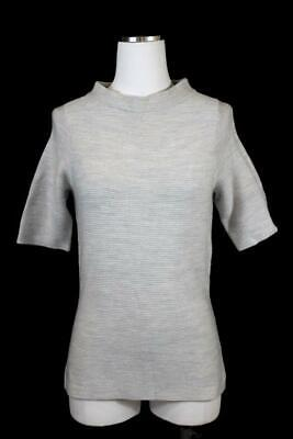 womens gray THE LIMITED scandal collection mock neck ribbed knit shirt top M