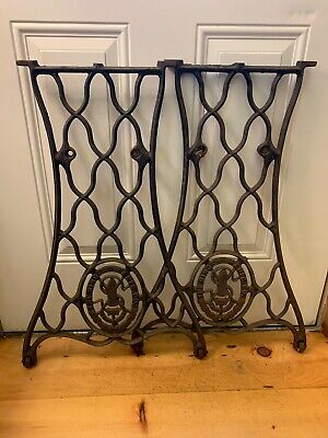 Antique 1887 Cast Iron Singer Treadle Sewing Machine Table Legs Casters As Found