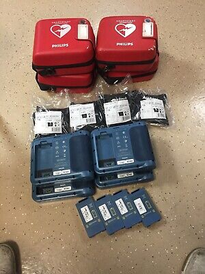 Lot of 4  - Philips HeartStart FRx  AED - With Battery & Case