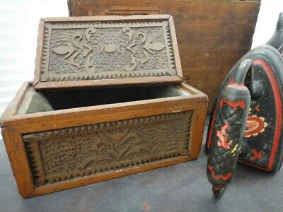 antique FOLK TRAMP ART HAND CARVED WOOD BOX PENNSYLVANIA DUTCH art craft prison