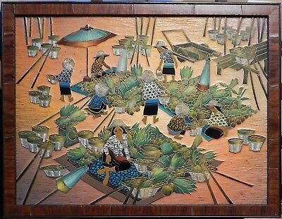 Thailand Market Scene Hand Carved and Painted Relief Framed