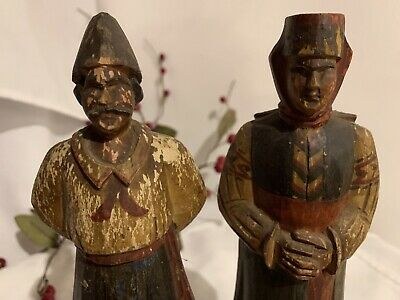 Antique Wooden Figurines Statues (pair) Couple, Carved Man & Woman, Handpainted