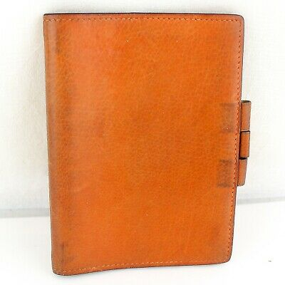 Auth HERMES AGENDA GM Notebook Day Planner Cover Leather Orange