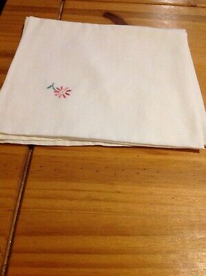 White Cotton Vintage Baby Pillowcase With Coloured Embroidery In 2 Corners
