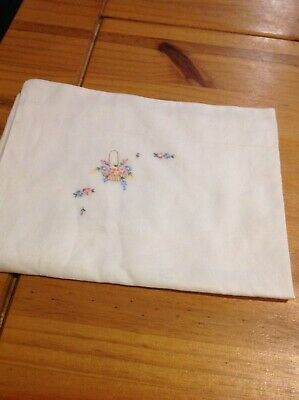 White Fine Cotton Vintage Baby Pillowcase With Pink/Blue Embroidery In 1 Corner
