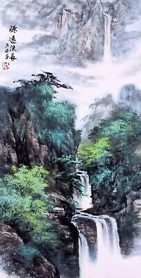 HANDPAINTED ORIENTAL ASIAN FINE ART CHINESE WATERCOLOR PAINTING-Landscape View