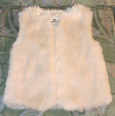 Girls Faux Fur Gilet / Body Warmer in Ivory, Shiny Silk lined, Suit 3 - 4 Years