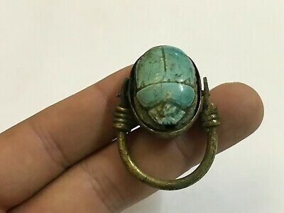 rare ancient Egyptian Copper ring with stone scarab size 12.5 Egypt 1069–664BC i