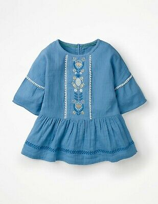 Girls Ex Mini Boden Embroidered Top 9-10 11-12 Fluted Sleeve Pom Pom Braid