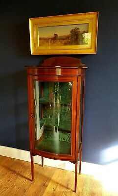 Edwardian Mahogany Display Cabinet. Bow Fronted Glass with Sabre Legs. Inlaid.