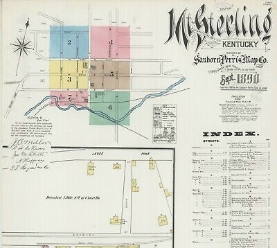 Mt Sterling, Kentucky~Sanborn Map© sheets~19 maps made~ in full color.