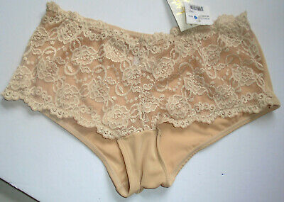 Vintage Lady Princess Sexy Silky Beige Lace Full Briefs Sissy NWT New Size XL 8