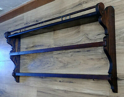 Antique Arts & Crafts Solid Oak Wooden 2 Tier Wall Plate Display Shelf Rack
