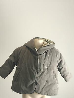 Girls Zara Baby Grey Hooded Warm Winter Coat Jacket Kids Age 6-9 Months