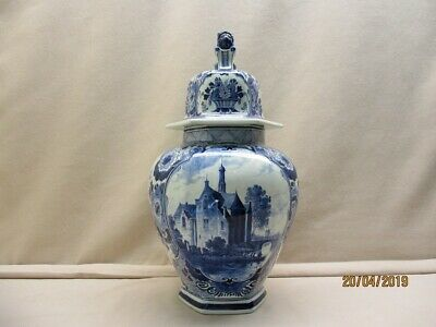 Antique Delft blue covered vase marksign JT & L.marked Porceleyne Fles year 1904