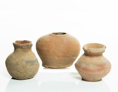 3 Bronze-age Holy Land small pottery vessels: 1st millenium BC.