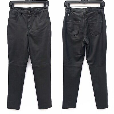 Blank NYC Black Genuine Real Leather Skinny Pants Womens Size 26 Small