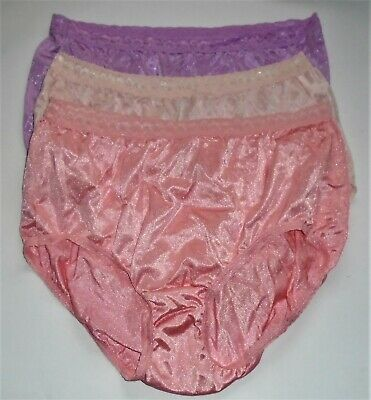Lot Of 3 Vintage Hanes 100% Nylon Shiny Silky Briefs Sissy Panties XL 8 EXC