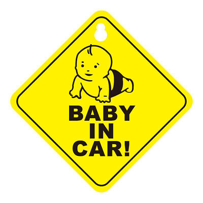 BABY IN CAR WARNING SAFETY SIGN Decal Sticker for Car Vehicle Window Suction Cup