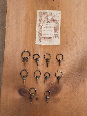 10 Georgian Antique Brass Picture Frame Rings Hooks