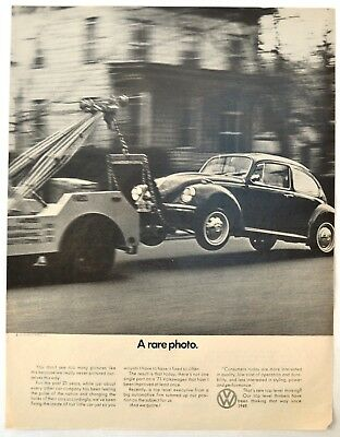 "1971 VW Volkswagen PRINT AD Beetle Bug Being Towed ""A Rare Photo"""
