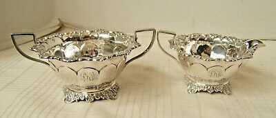 English Sterling Silver Creamer & Sugar Antique