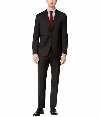 Vince Camuto Mens Black Check Two Button Formal Suit black 38x36
