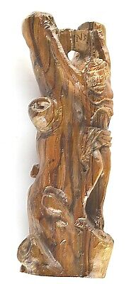 """INRI Jesus Christ hanging from a tree Wooden statue Bible Hand Carved 9"""" tall"""