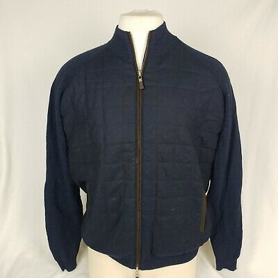 Peter Millar Mens Quilted Stitch Navy Wool Zip Up Front Size - XL