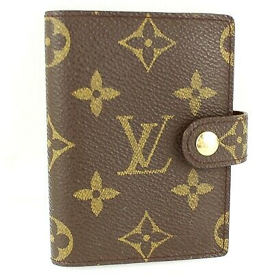Auth LOUIS VUITTON AGENDA MINI Notebook Day Planner Cover Monogram R20007 Brown