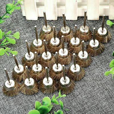 20pcs 25mm Brass Cup Wire Brushes Cleaning Remove Rust Polishing Rotary Tool HQ