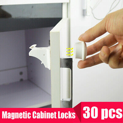 Magnetic Cabinet Locks Child Baby Proof Safety Cupboard Drawer Kitchen Door ❥