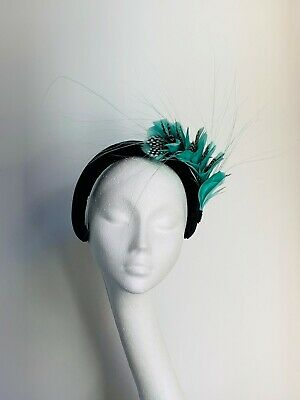 mint green feather fascinator hat crown halo headpiece Wedding Ascot Derby Races